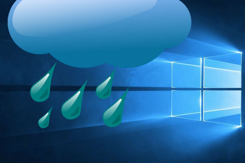 Windows 10 met wolk en regen