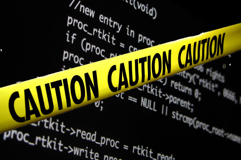 caution malware code