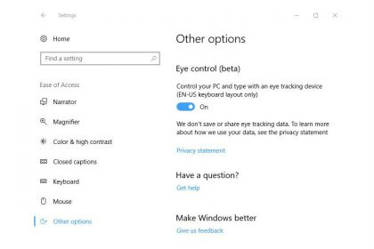 Windows 10 Eye Control