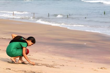 India, girl at beach